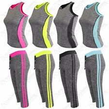 NEW WOMENS GYM VEST TOP 3/4 CAPRI PANTS SPORTSWEAR YOGA WORKOUT SUIT 2 PC SET