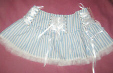 Powder Blue Hell Bunny Mini Skirt with White Ribbon Detail Size 12 frilly stripe