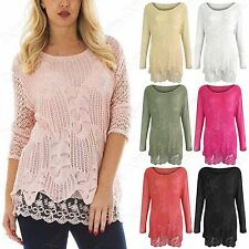 NEW LADIES CROTCHET LACE KNIT LINED SLEEVED JUMPER WOMEN 2in1 LOOK PLUS SIZE TOP