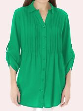 Woman Within NEW GREEN Pintuck Roll Sleeve Shirt SIZES UK 14/16 to 38/40