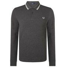 Fred Perry Long Sleeve Polo T-Shirt - Graphite Marl - Twin Tipped - M3636 - E91