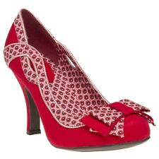 New Womens Ruby Shoo Red Ivy Textile Shoes Floral Slip On