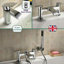 LIBRA WATERFALL BATHROOM CHROME BATH FILLER SHOWER & BASIN MIXERS + FREE WASTE