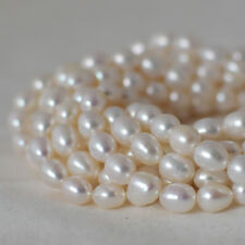 """15"""" Strand Natural Freshwater Pearl Beads Rice / Oval White 5 -8 mm Grade A+"""