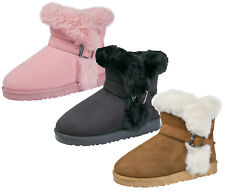 Luxury Girls Faux Suede Fur Lined Fur Trim Boots Short Ankle Cuff Buckle Kids