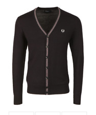 Fred Perry Cardigan - V-Neck - Fine Merino - Wool - Navy - K2501 - 608