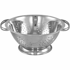 STAINLESS STEEL COLANDER WITH 2 HANDLE DEEP SPAGHETTI PASTA SALAD STRAINER  DISH