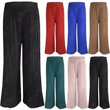 NEW LADIES WOMEN PLEATED PALAZZO TROUSERS CHIFFON LOOK FLARE WIDE LEG LONG PANTS