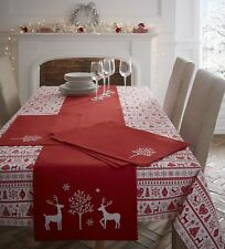 Noel Yuletide Christmas Dining 100% Cotton Table Cloth Embroidered Place Mat Red