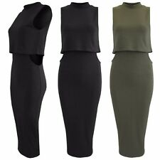 LADIES DOUBLE LAYERED RIB DRESS CUT OUT WAIST WOMENS MIDI BODYCON 2in1 CROP TOP
