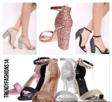 Womens Glitter Ankle Strap Sandals Peep Toe Strappy Party Fashion Heel Shoes 3-8