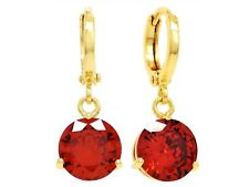 18CT Gold red drop dangle earrings gold round fire ruby red gems gift box