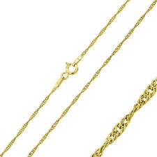 Men Women 1mm Sterling Silver Italian Necklace 14K Gold Plated Singapore Chain
