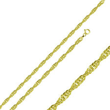 Men Women 1.5mm Sterling Silver Italian Necklace 14K Gold Plated Singapore Chain