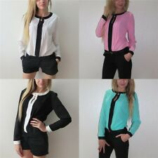 Women Long Sleeve Shirt Chiffon Pleated Patchwork Office Blouses Tops