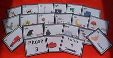 PHONICS LETTERS & SOUNDS - PHASES 1-5 - FLASH CARDS - READING WRITING SPELLING