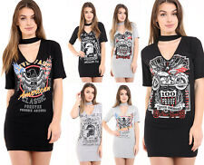 Donna Rock N ROLL stampa colletto scollo a V T SHIRT MINI ABITO TAGLIE FORTI