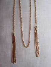 Long Gold Plated Chain Necklace with Tassels - NEW.