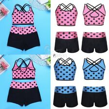4cef480413031 2PCS Girls Tankini Tank Top   Bottoms for Sports Gym Workout Swimwear Dance  Wear