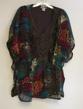 Women's Printed Crochet Lace Batwing Dolman Sleeve Cinched Waist Blouse Top NWT
