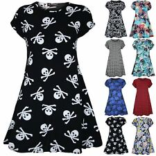 Womens Ladies Floral Doogtooth Print Short Sleeve Bodycon Flared Swing Dress