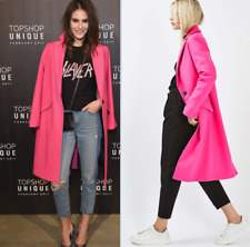 Topshop Petite Colourful Fluro Pink Long Slim Popper Boyfriend Wool Coat  6 - 14