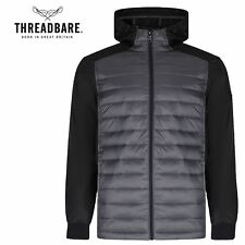 Mens Threadbare Padded Wadded Quilted Hooded Zip Up Winter Jacket Lined Coat