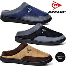 MENS DUNLOP SLIPPERS SLIP ON FAUX SUEDE SHEEPSKIN FUR LINED CLOG WINTER SHOES