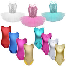 Kids Stretch Leotard Ballet Dancewear Girls Ballerina Tutu Fancy Dress Costumes