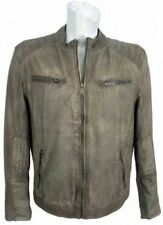 Trapper - Herren Lederjacke Mix Denim Lammnappa grey