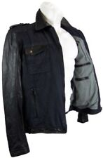 Trapper Herren Lederjacke Lammnappa Denim Mix blue black