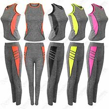 NEW LADIES WORKOUT FITNESS SPORTSWEAR TRACKSUIT YOGA GYM MUSCLE TOP LEGGINGS 2PC