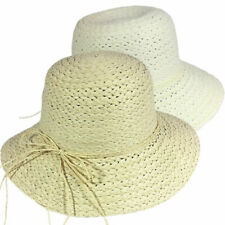 Women Ladies Straw Bucket Hat with Bow Summer Sun Beach Foldable Cap 3 Colours