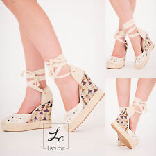 WOMENS WEDGES ESPADRILLES SANDALS PLATFORM SUMMER SHOES LADIES LACE UP HIGH HEEL