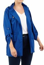 New Ladies Plus Size Roll Up Sleeve Hooded Rain Coats Jackets 18-24