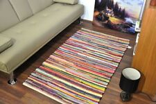 Large 100% Cotton Handmade Multi Colour Chindi Rug Area Rag Rugs Mat 90x150 CM