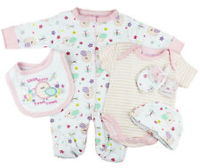 Baby Girls Little Birdy 5 Piece Mesh Bag Layette Gift Set (Newborn - 6 Months)