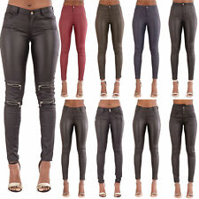 Womens High Waist Leather Look Skinny Fit Stretchy Trousers Leggings Size 6-20