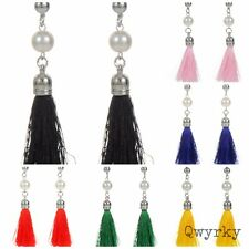 Pair of silver dangle fashion earrings with faux pearls & soft tassel/fringe