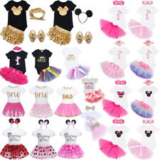 Baby Girls First Birthday Outfits Tutu Skirt Cake Smash Dress 1st Party Clothes