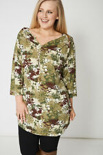 NEW Casual Women's Ladies Camouflage Style Flower Print Blouse Top Spring Summer