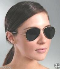 Aviator Sunglasses Black Gold or Silver Frame Dark Smoked Lenses Flat Lens