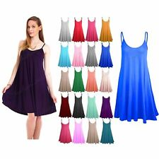 Ladies Sleeveless Camisole Womens Floaty Flare Strappy Skater Swing Dress