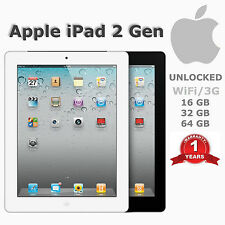 "Apple iPad 2 64GB Wi-Fi + 3G (Unlocked) - 9.7"" Black or White- A Grade"
