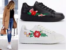 Women's Embroidered Faux Leather Casual Lace Up Flats Sneakers Trainer Shoes 3-8