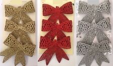 3x Glittery Hanging Bow Christmas Decorations XMAS Tree Ornaments Party Gift New
