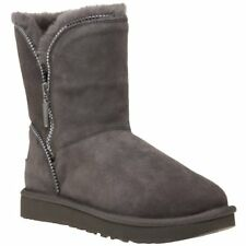 New Womens Ugg® Grey Florence Sheepskin Boots Ankle Pull On
