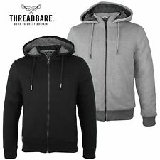 Mens Threadbare Plain Faux Sherpa Borg Lined Zip Hoodie Winter Hooded Sweatshirt