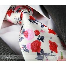 NEW ITALIAN DESIGNER RED, PINK & IVORY FLORAL SILK TIE (& HANKY)