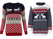 Unisex Womens Men Retro Christmas Reindeer Print Knitted Xmas Jumper Top S-3XL